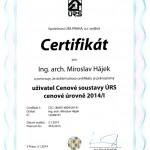 Certifikát uživatele cenové soustavy URS